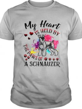 My heart is held by the paws of a Schnauzer shirt