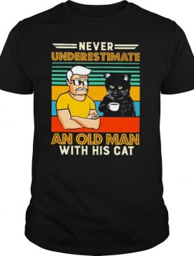 Never underestimate and old man with his tuxedo cat vintage shirt