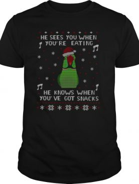 Parrot He Sees You When You're Eating He Knows When You've Got Snacks Ugly Christmas shirt