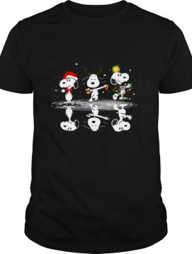 Snoopy Santa Reindeer Water Reflection Light Merry Christmas shirt
