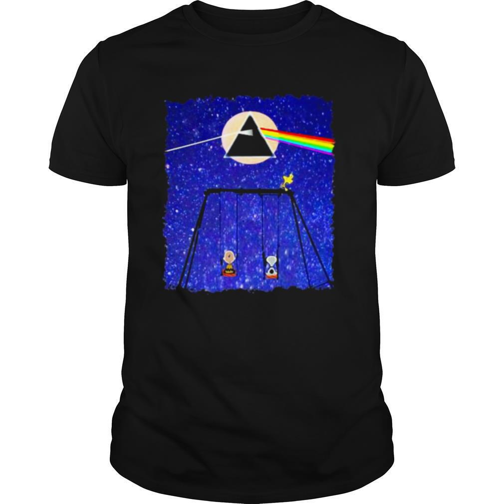 Snoopy Woodstock And Friend Watching Moon Pink Floyd shirt0