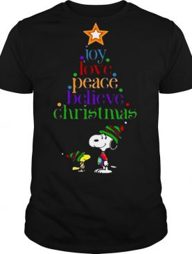 Snoopy and Charlie Brown joy love peace believe Christmas shirt