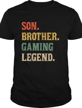 Son Brother Gaming Legend Vintage Teenage Boys 8 12 Year Old shirt