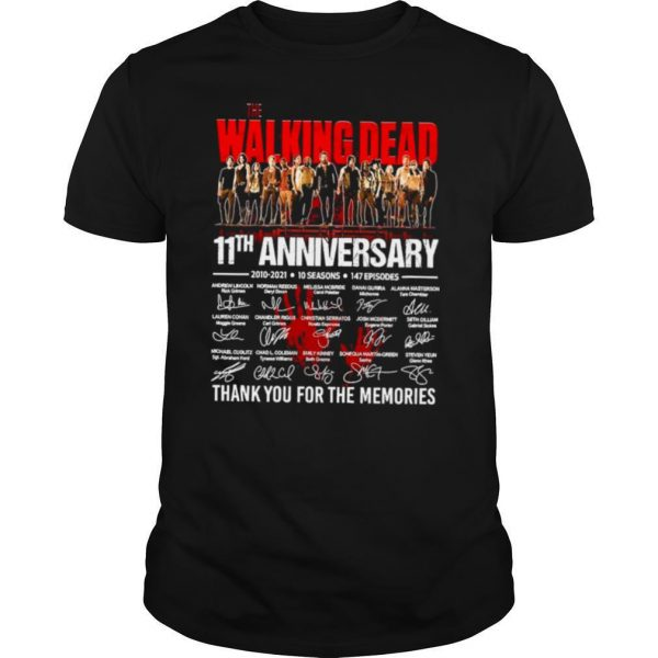 The Walking Dead 11th Anniversary 2010 2021 10 Seasons 147 Episodes Thank You For The Memories Signatures shirt