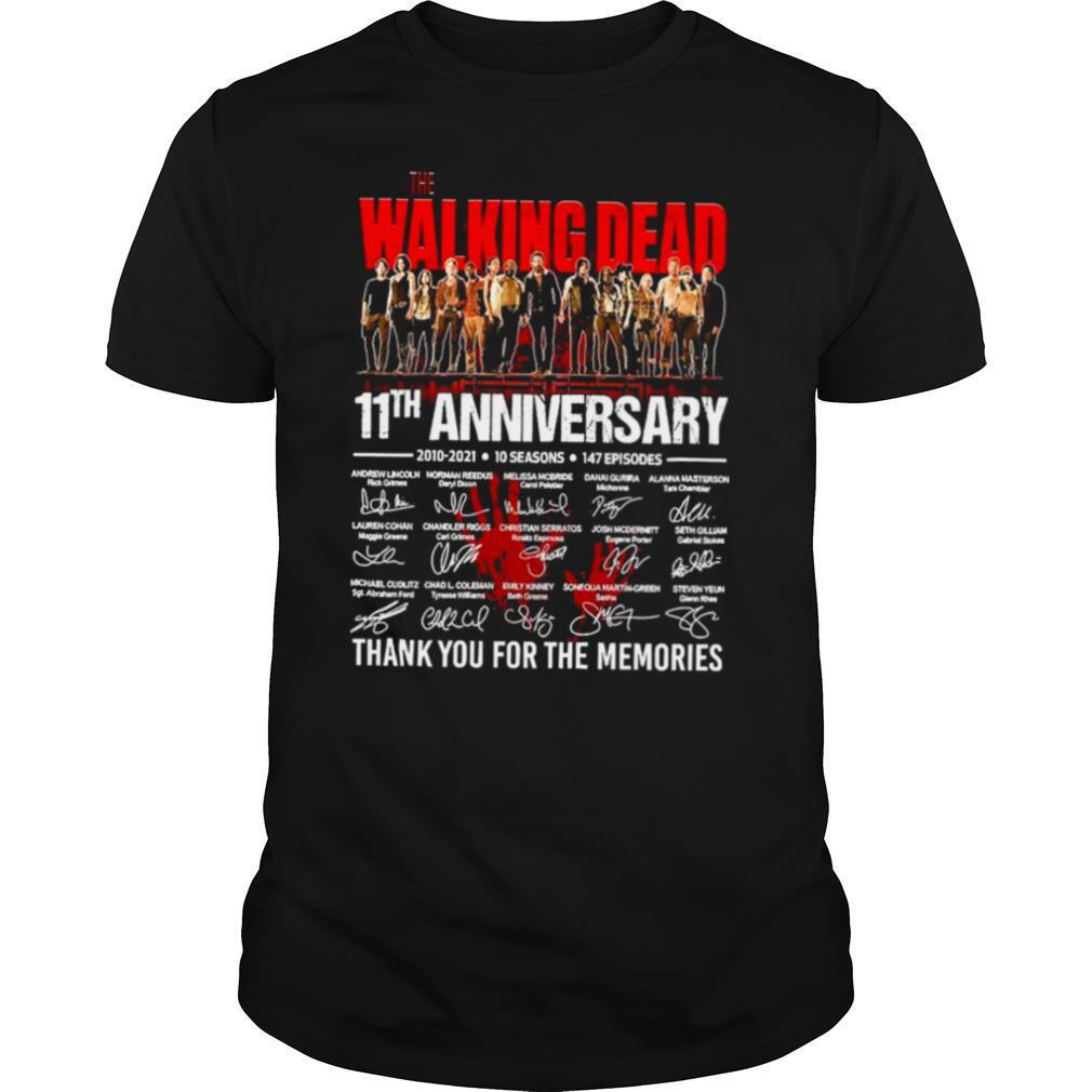 The Walking Dead 11th Anniversary 2010 2021 10 Seasons 147 Episodes Thank You For The Memories Signatures shirt0