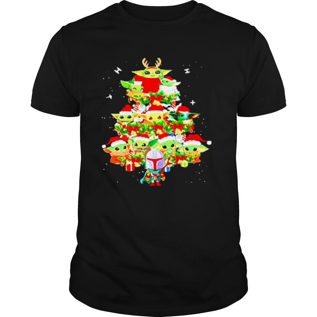 Baby Yoda And The Mandalorian Merry Christmas Tree Gift shirt0