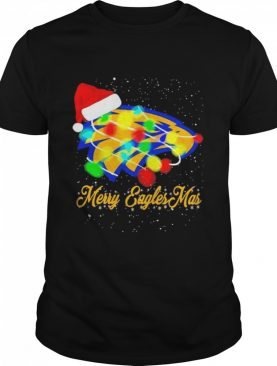 Merry Eagles Mar Hat Santa Claus Lights Christmas shirt