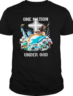 One Nation Under God Dolphins Miami Football American Flag shirt