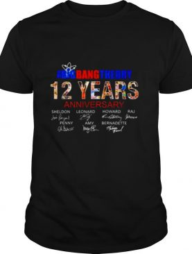 The Big bang Theory 12 yeras anniversary signatures shirt