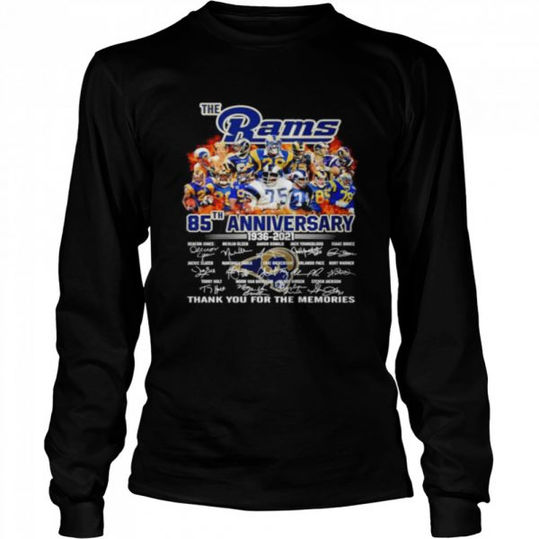 The Los Angeles Rams 85th anniversary 1936 2021 thank you for the memories  Long Sleeved T-shirt