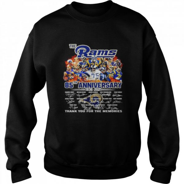 The Los Angeles Rams 85th anniversary 1936 2021 thank you for the memories  Unisex Sweatshirt