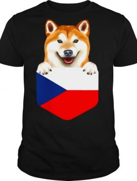 Czech Republic Flag Shiba Inu Dog In Pocket shirt