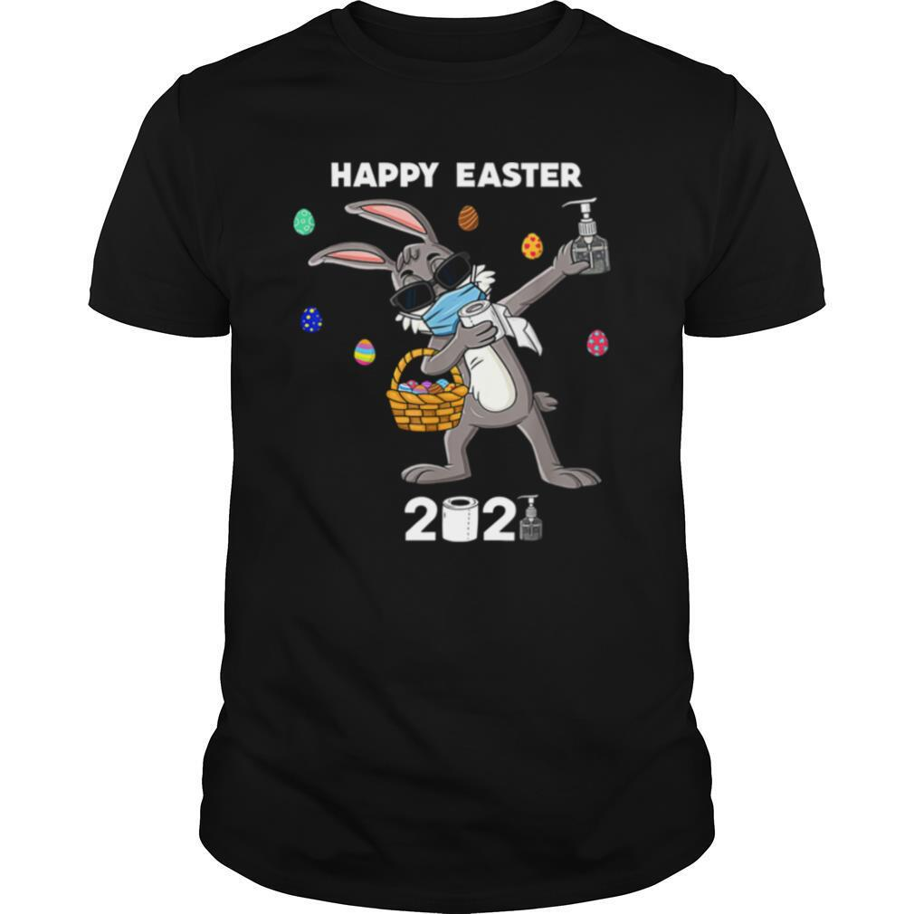 Dabbing Rabbit Face Mask Happy Easter 2021 shirt0