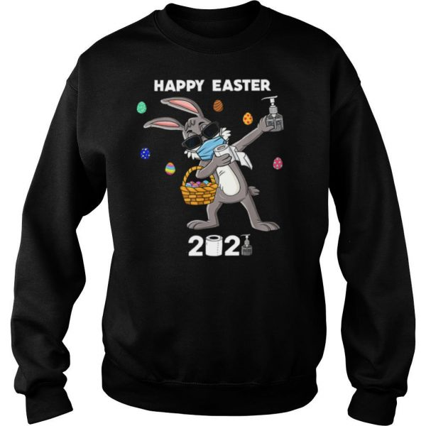 Dabbing Rabbit Face Mask Happy Easter 2021 shirt