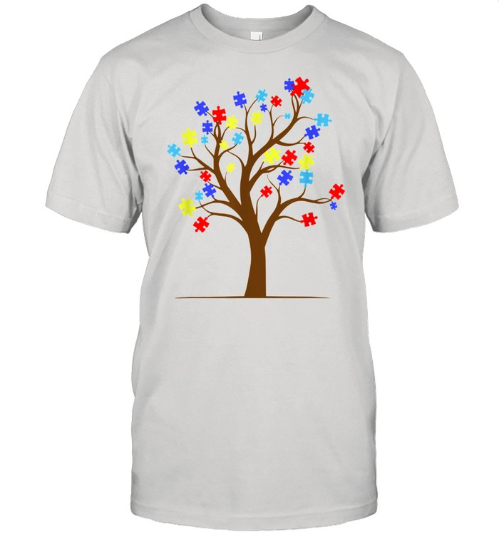 Autism Awareness Puzzle Tree Autistic Support Shirt Classic Mens T shirt
