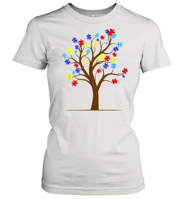 Autism Awareness Puzzle Tree Autistic Support Shirt Classic Women's T-shirt