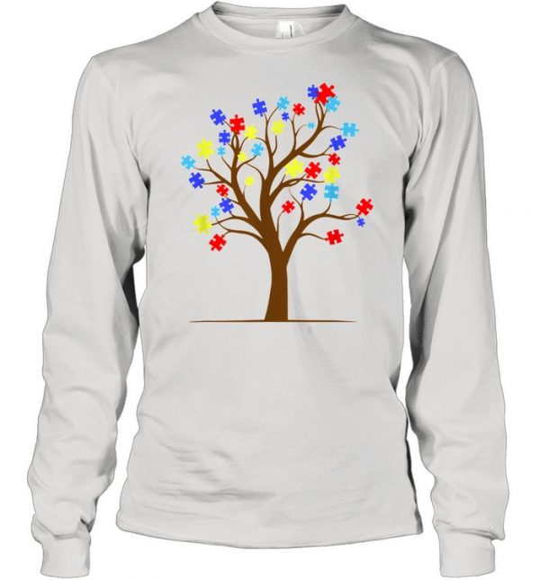 Autism Awareness Puzzle Tree Autistic Support Shirt Long Sleeved T-shirt