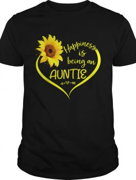 Happiness Is Being An Auntie Sunflower Heart Aunt To Be Shirt
