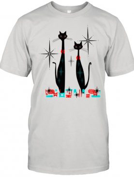 Retro Atomic Era Mid Century Modern Cat Pair w Stars Shirt